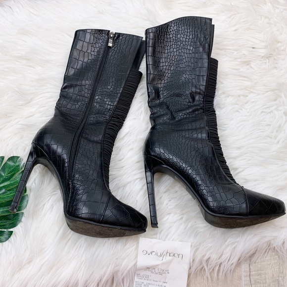 Unbranded Shoes - Reptile Printed Black Mid Calf Heel Boot